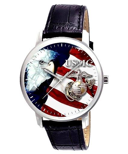 Marina USMC Semper Fi patriótica Militar Iraq segunda guerra mundial correa de piel nuevo.: Amazon.es: Relojes