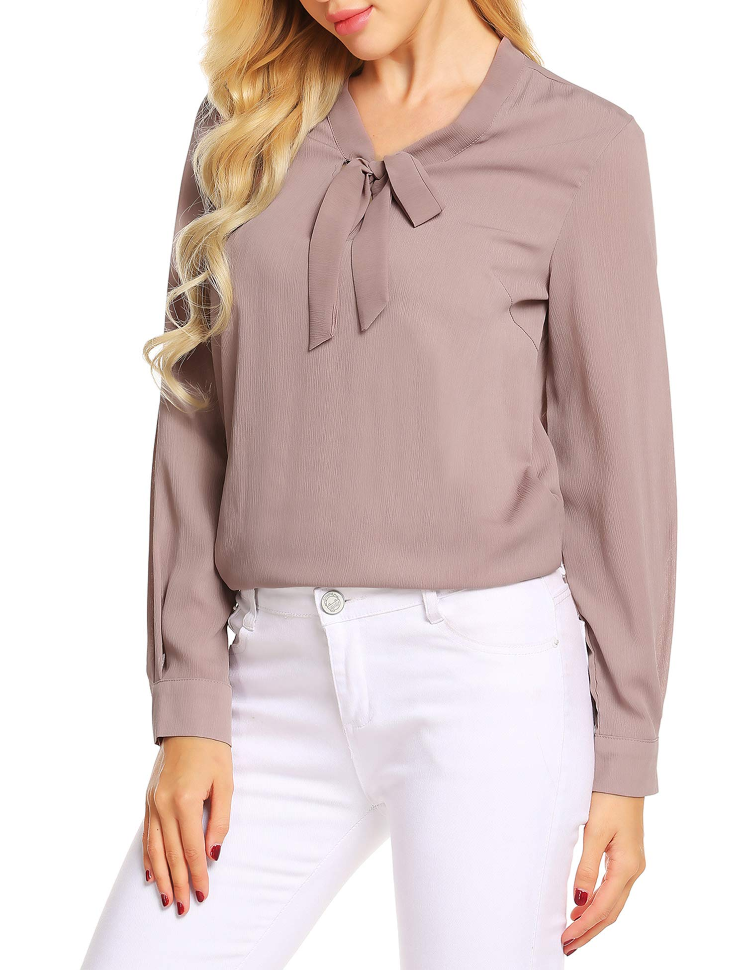 226e392c24f669 ACEVOG Women Casual Long Sleeve Roll-up Sleeve V Neck Chiffon Blouse ,Champagne,S