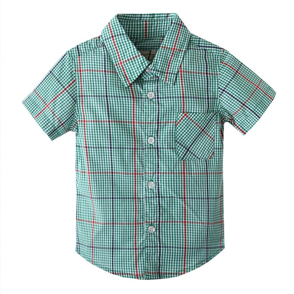 Coralup Little Boys Top Short Sleeve Plaid Checked Shirt