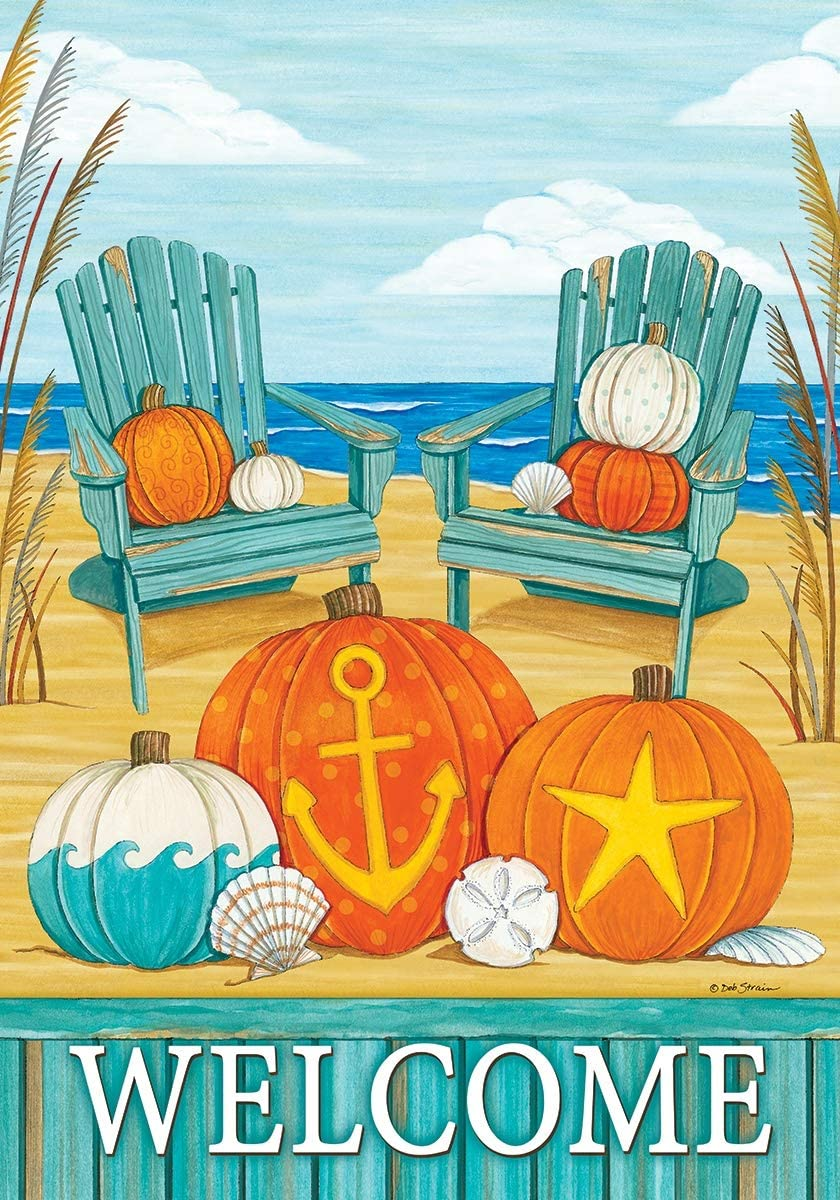 Custom Decor Beach Pumpkins - Welcome - Garden Size, Decorative Double Sided, Licensed and Copyrighted Flag - Printed in The USA Inc. - 12 Inch X 18 Inch Approx. Size