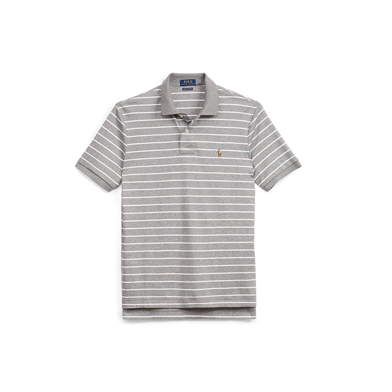 POLO RL Mens Pima Soft Touch Rugby Short Sleeve Shirt Speedway Grey Medium