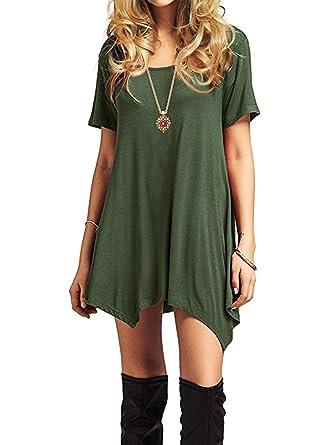 75819efc2a515 Womens Short Sleeve Flowy Casual Dresses Summer Swing Dress For Women Basic  Round Neck T-
