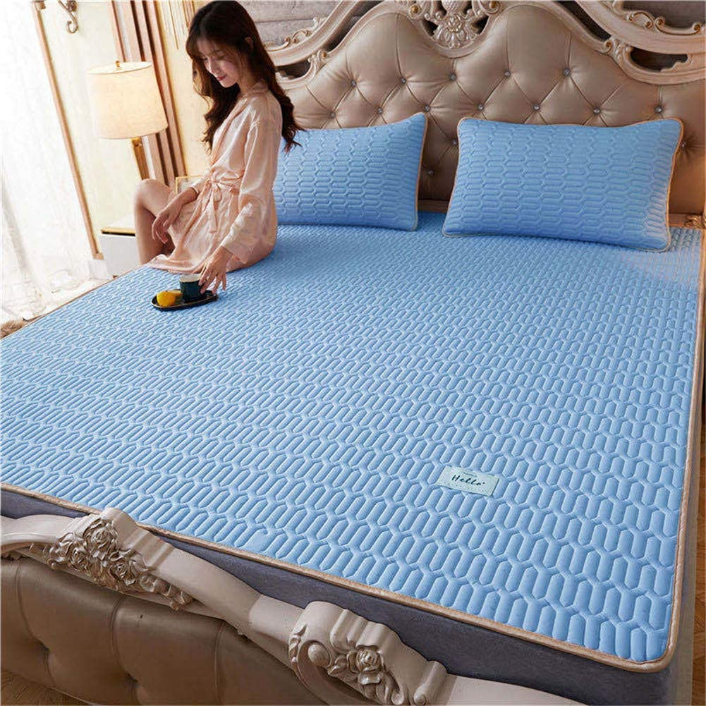 THJ Three-piece Set of Natural Latex Cool Mat Summer Ice Silk Mat Foldable and Washable Air Conditioning Cooling Ice Silk Mat 8,150cm* 200cm