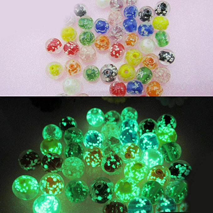 10 Glow In The Dark Glass Beads 8mm Lampwork Mix Jewelry Making Supplies Set