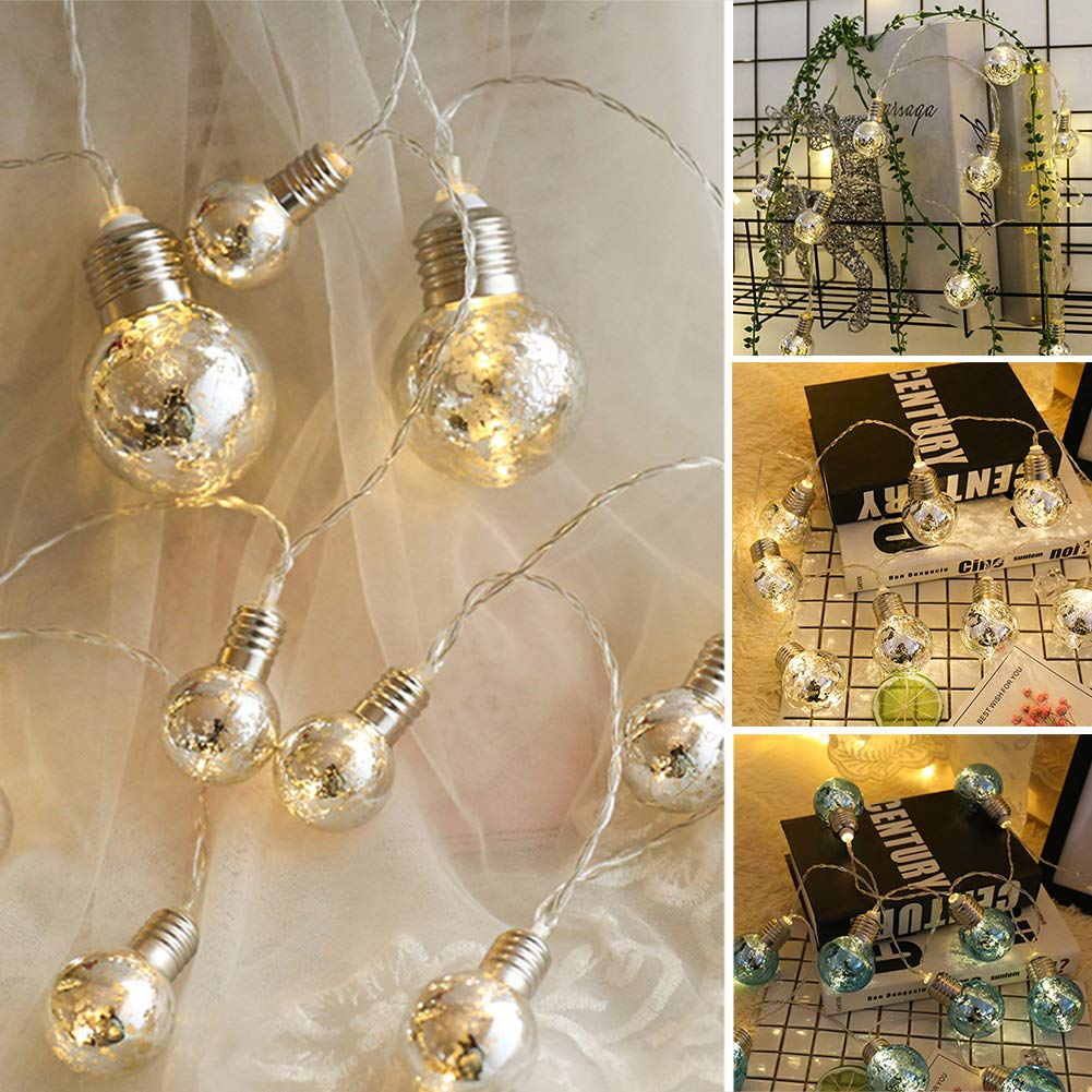 LED Fairy String Lights, LED Ball String Lights, Indoor Outdoor Xmas Lights Globe Fairy String Lights Starry Lights, for Garden, Home, Wedding 1.5/2/3/5m(1.5m 10 Bulbs,Colorful Light+blue Bulbs) by Ragdoll50 (Image #8)