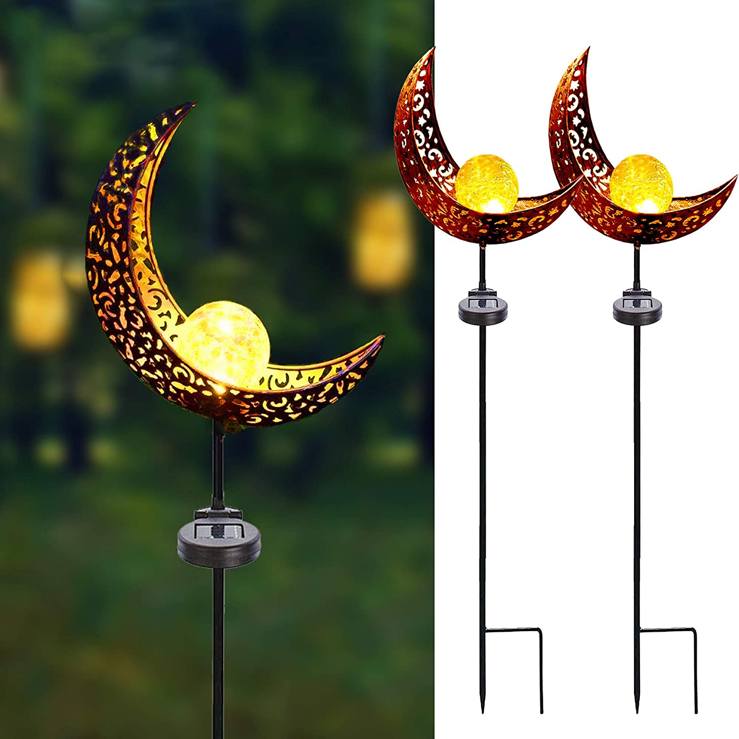 Solar Garden Stake Lights,2 Pack Crackle Glass Globe Antique Brass Metal Outdoor Solar Moon Lights for Lawn Patio Yard Wedding Party Decoration Light