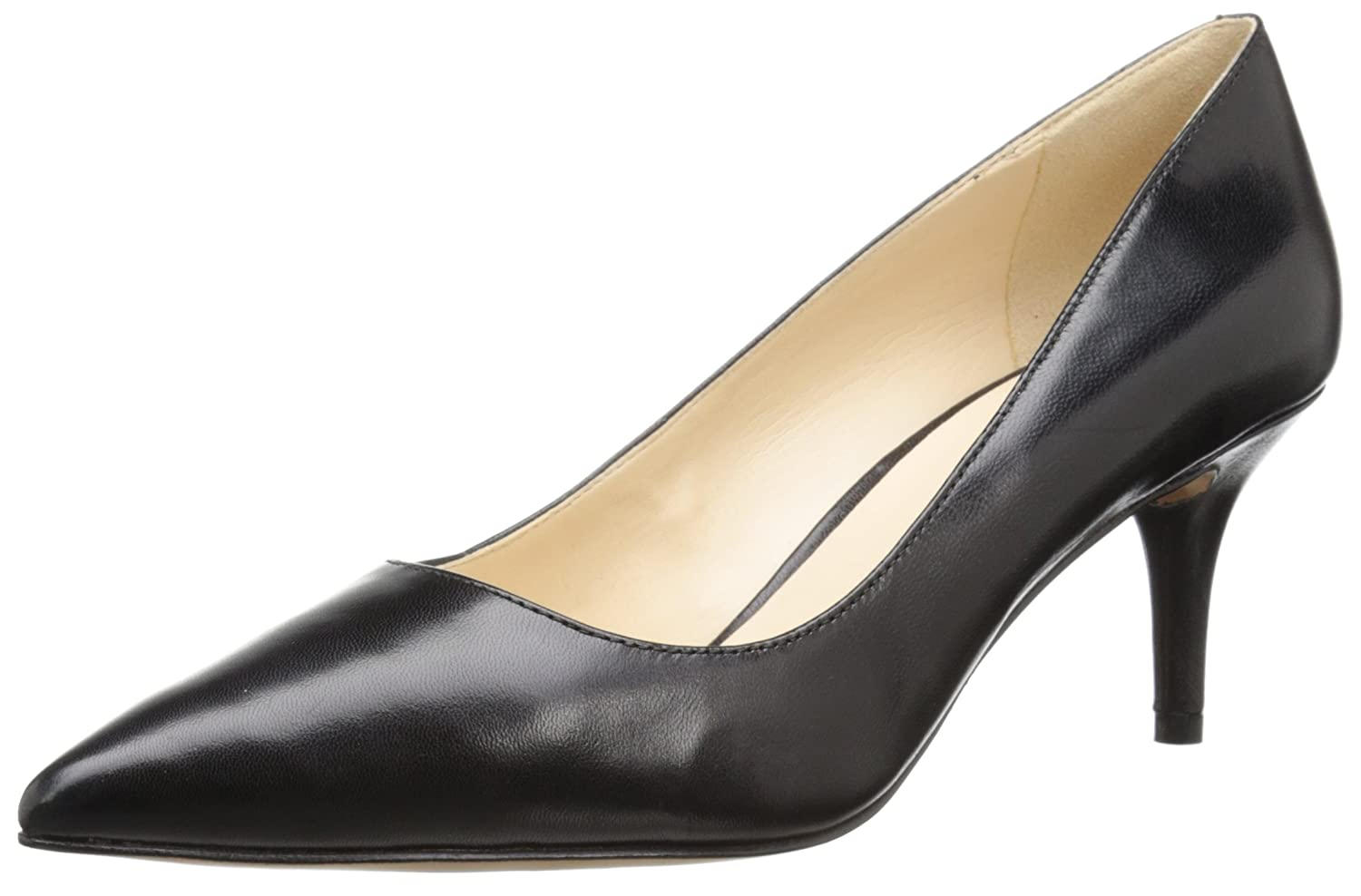 Nine West Women's Margot Leather Dress Pump B00XDHCBHC 10 W US|Black Leather