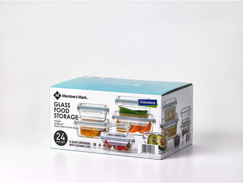 Member/'s Mark 24-Piece Glass Food Storage Set by Glasslock-BPA FREE NEW