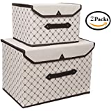 SONQUEEN Large Storage Bins with Lid, Foldable Storage Containers Box with Strong Handles,Storage Organizer Basket for Home,Nursery,Closet, Bedroom,Living Room, 2 Pack