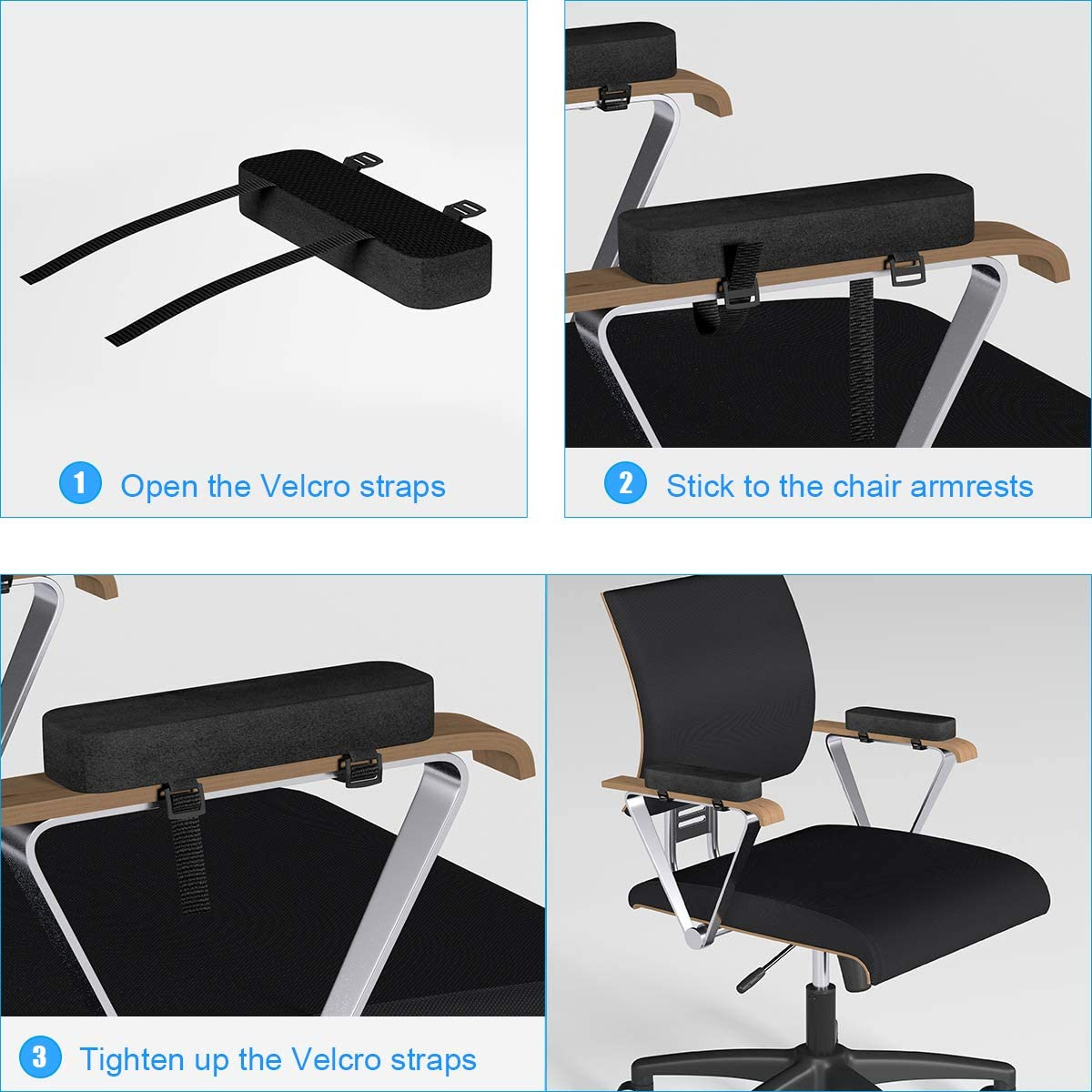 Yasolote Chair Armrest Pads, 2 Pack Padded Armrest Cushion Pads with Memory Foam Elbow Pillow for Forearm Pressure Relief, Arm Chair Covers for Office Chairs, Wheelchair, Comfy Gaming Chair (Black) : Office Products