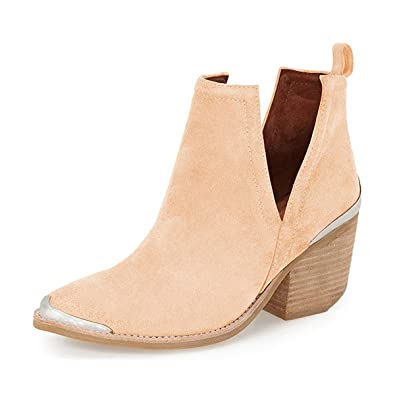 Women Ankle Booties Low Heel Faux Suede Stacked Boots Cut Out Shoes With Metal Toe