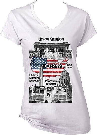 Teesquare1st KANSAS CITY USA Camiseta para mujer de algodon: Amazon.es: Ropa y accesorios
