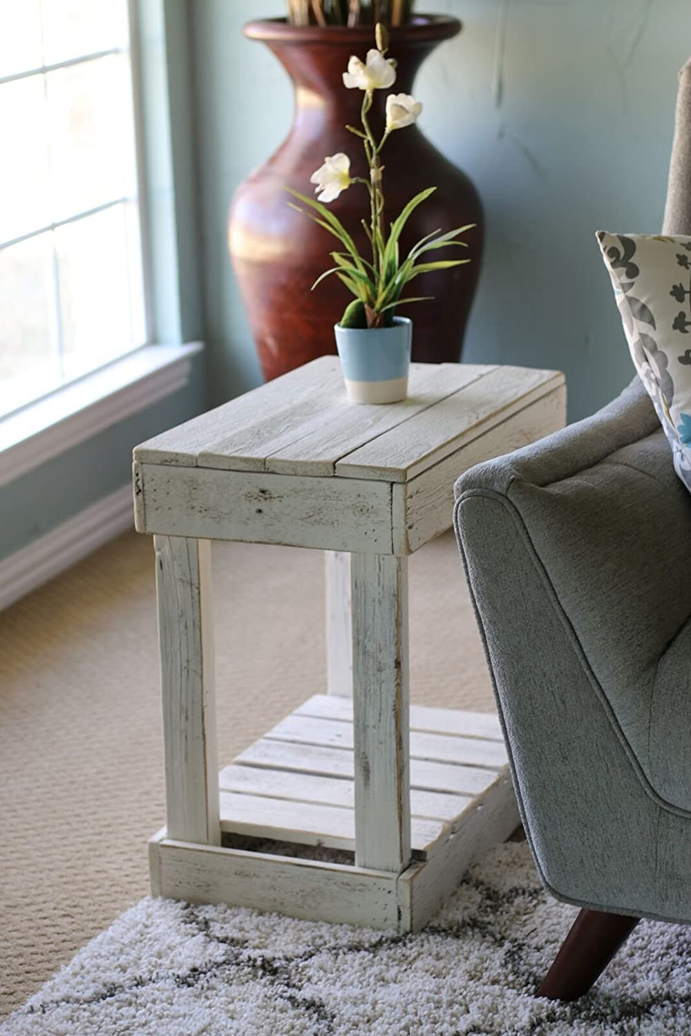 White Slatted End Table