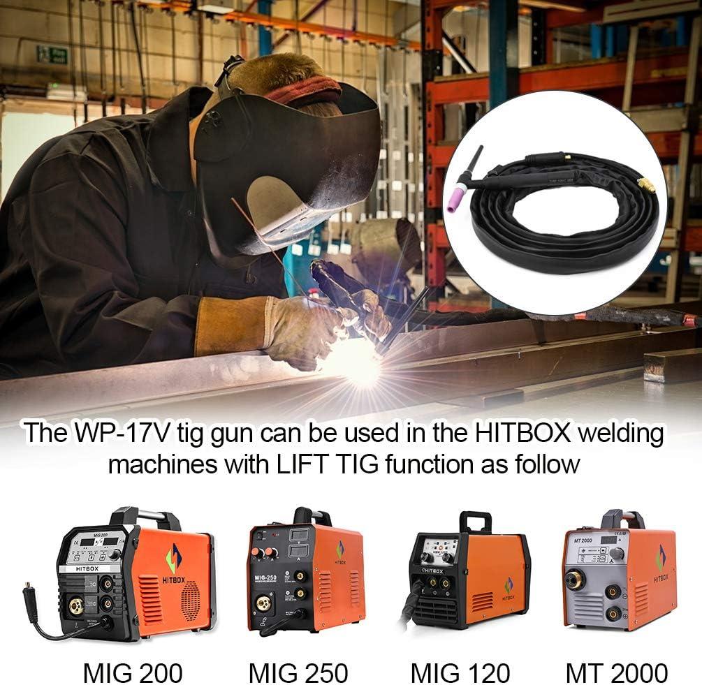 HITBOX TIG Welding Torch WP17V Welder Torch 140A SR-17V TIG Welder Gun Lift TIG