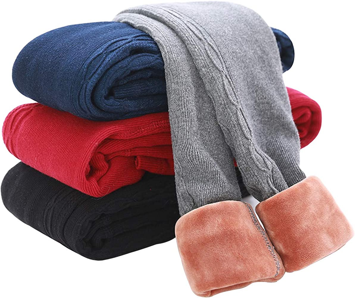 b89c82b5951 Tengo Girls Winter Thick Leggings Fleece Lined Warm Kids Leggings Pants (Navy02,90)