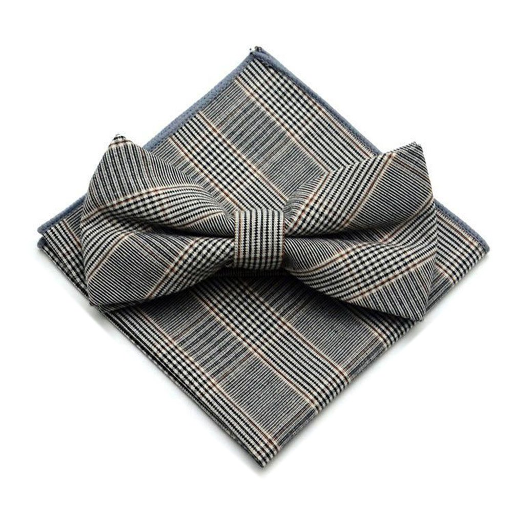 Secdtie Men's Cotton Plaid Pre-tied Bow Ties Pocket Square Set for Formal Tuxedo Square17Apr2017-4-16-2