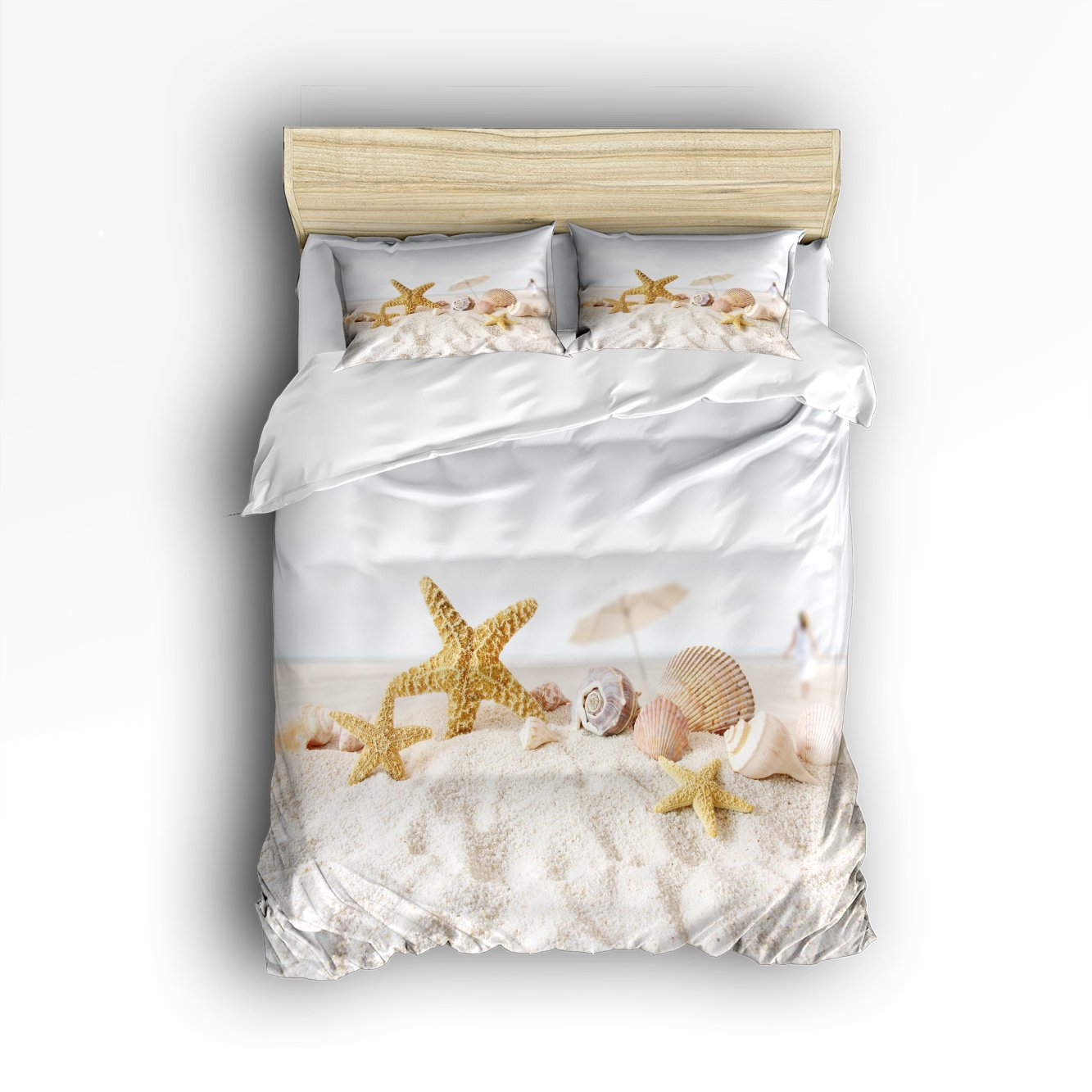 Beauty Decor Bedding 4 Piece bed Set Comfortable Soft Brushed Cotton, Star fish sea shell beach 4 Piece Bed Sheet Set Duvet Cover Flat Sheet and 2 Pillow Cases