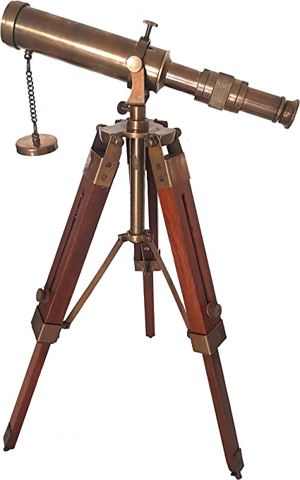 Nautical Polished Brass Telescope With Wooden Marine Tripod Stand Desk Decor