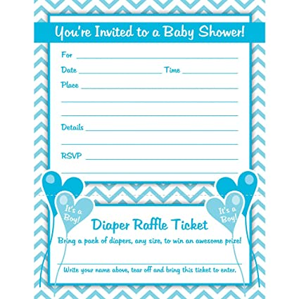 Boy Baby Shower Invitations With Diaper Raffle Ticket (Set Of 25 With  Envelopes)