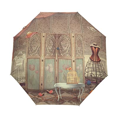 GIOVANIOR Vintage Dummy And Screen The Room Fashionable Umbrella Double Sided Canopy Auto Open Close Foldable Travel Rain Umbrellas