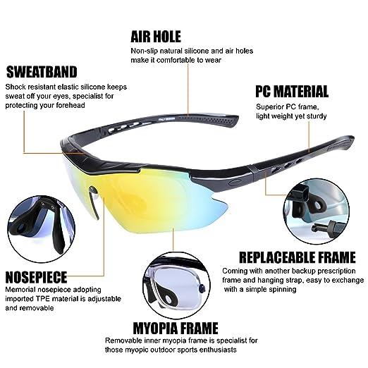 ShareWe Sportbrille Polarisierte Sonnenbrille Unisex Radbrille UV-Schutz Fahrradbrille mit 4 Wechselgläser für Radfahren Fahren Golf Baseball Volleyball Fischen (Schwarz) W68KsVmEhH
