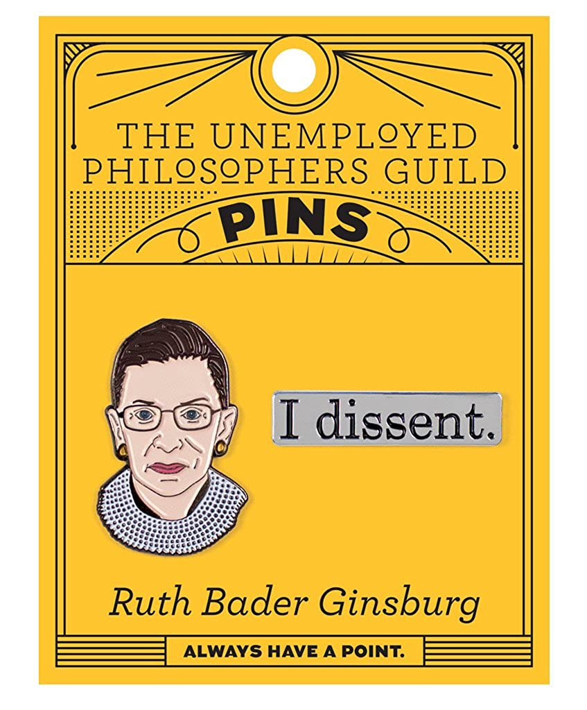The Unemployed Philosophers Guild Ruth Bader Ginsburg and I Dissent Enamel Pin Set 2 Unique Colored Metal Lapel Pins