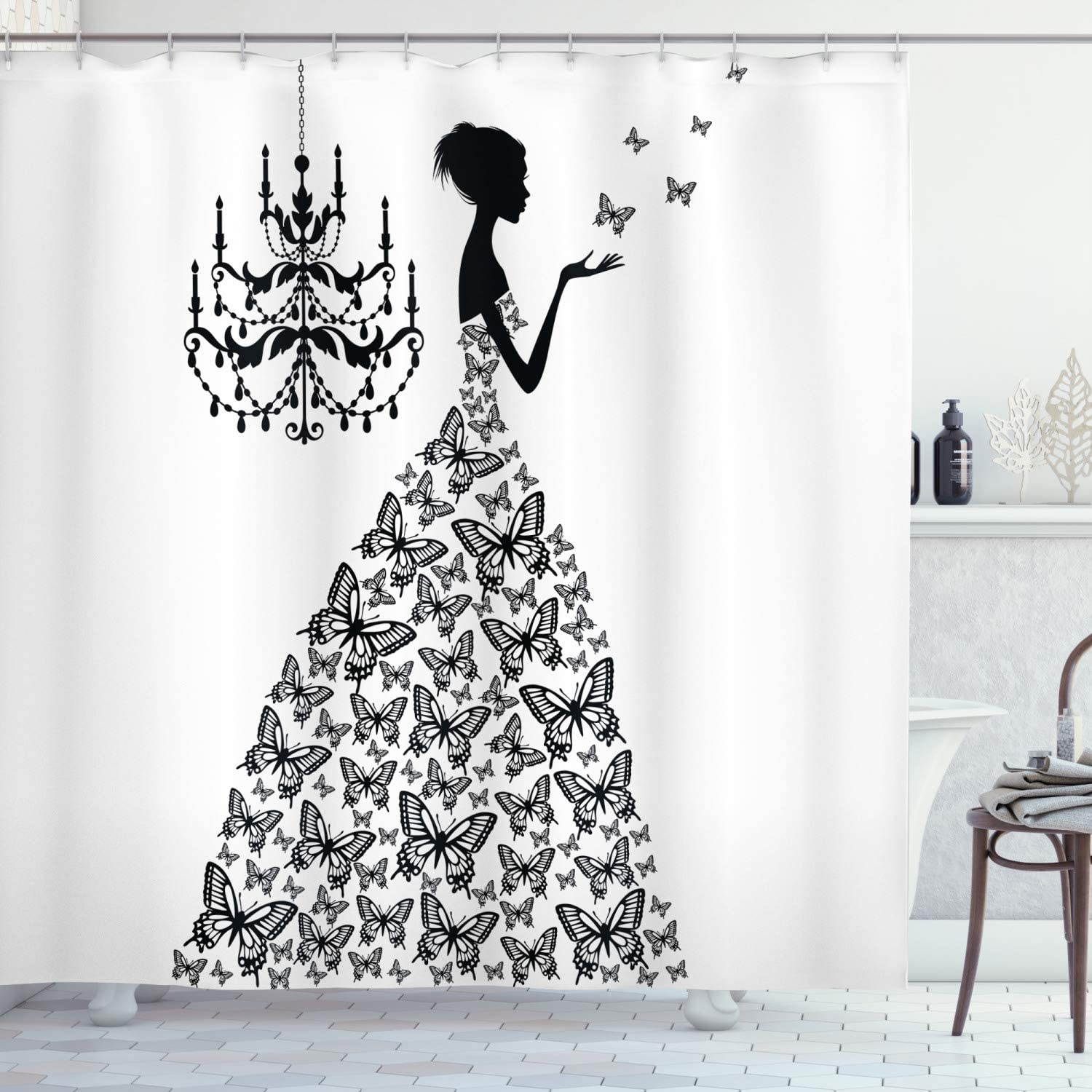 """Ambesonne Vintage Shower Curtain, Love Country Wedding Themed Romantic Butterflies Princess Retro Parisienne, Cloth Fabric Bathroom Decor Set with Hooks, 70"""" Long, Charcoal Grey White"""