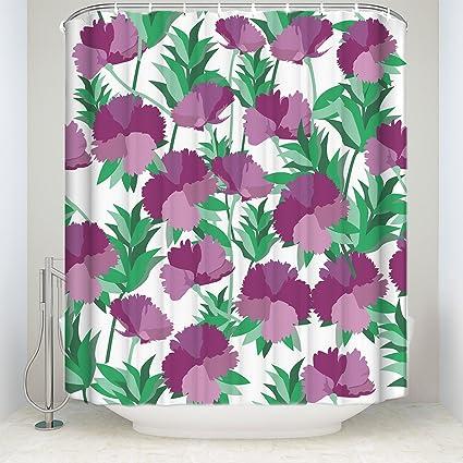 Amazon Com Libaoge Abstract Purple Carnation Flower Green Leaves