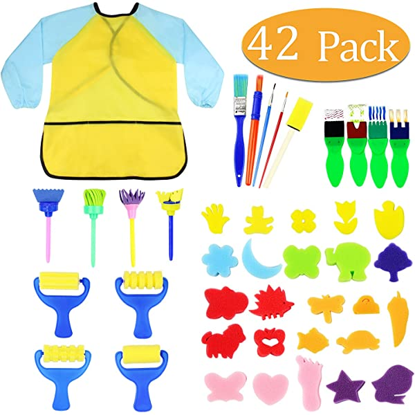 Red-eye 26 PCS//Set Kids Sponge Painting Brushes Set Sponge Roller Drawing Set Childrens Brush EVA Sponge Seal Sponge Brush Painting Set DIY Craft Drawing Tool Art Supplies