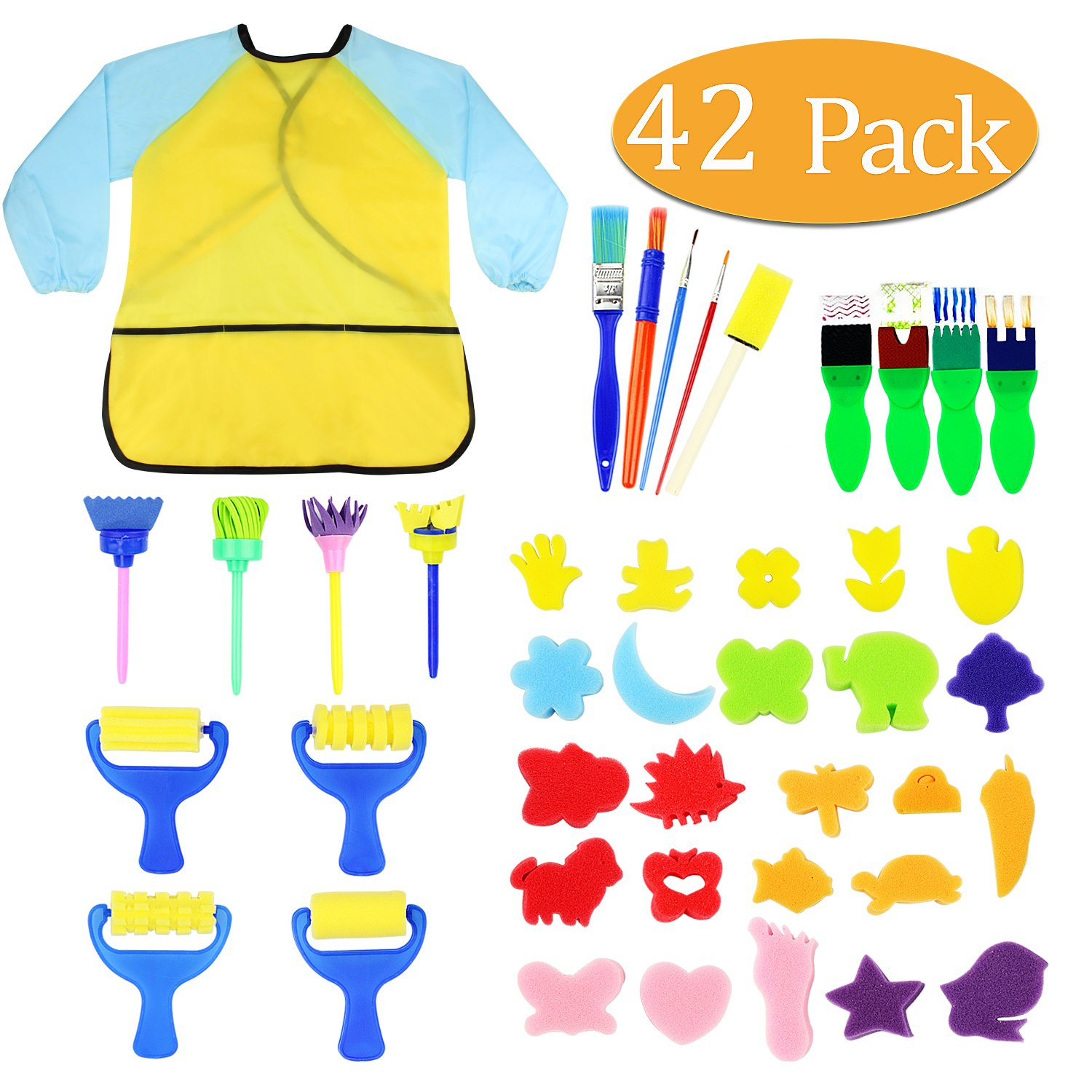 vorey Kids Early Learning Sponge Painting Brushes Kit, 42 Pieces Sponge Drawing Shapes Paint Craft Brushes for Toddlers Assorted Pattern, Including Children Waterproof Art Painting Smock Apron