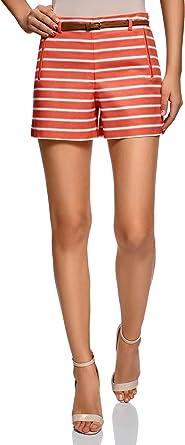 oodji Ultra Mujer Pantalón Corto de Algodón con Cinturón: Amazon ...