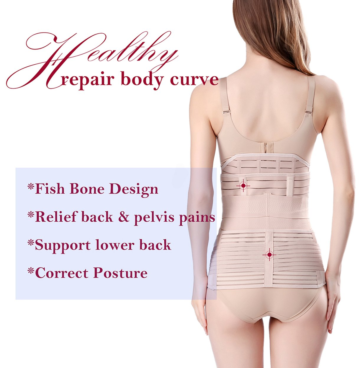 3 in 1 Postpartum Support - Recovery Belly/waist/pelvis Belt Shapewear Slimming Girdle, Beige, One Size by Chongerfei (Image #4)