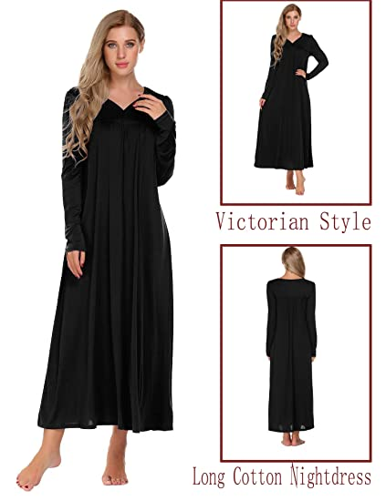 54ea4f97b60 Acecor Long Sleeve Victorian Nightgown Sexy Sleepwear Maxi Dress For Women