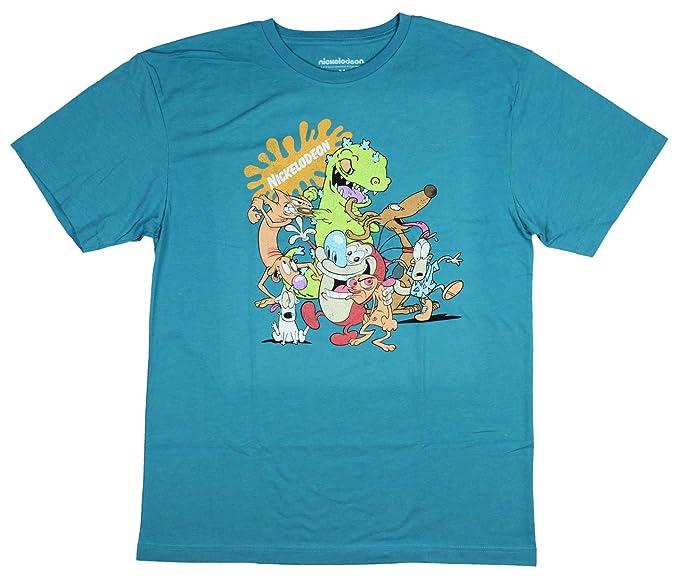 70b675b740d Nickelodeon Shirt Men s 90s 80s Rugrats Reptar Catdog Rocko s Modern Life  Ren and Stimpy Adult Tee