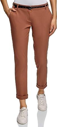 oodji Ultra Mujer Pantalones Chinos con Cinturón: Amazon.es: Ropa y accesorios