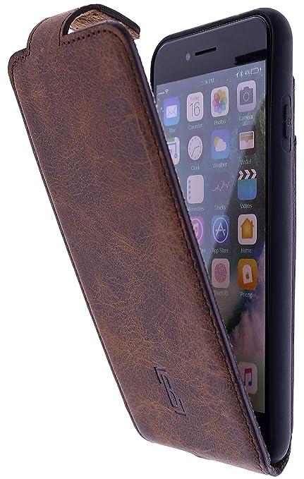 Burkley Handyhülle für iPhone 8 iPhone 7 Hülle kompatibel mit Apple iPhone 87 Schutzhülle Flip Handytasche mit Kartenfach (Antik Kaffee Braun)