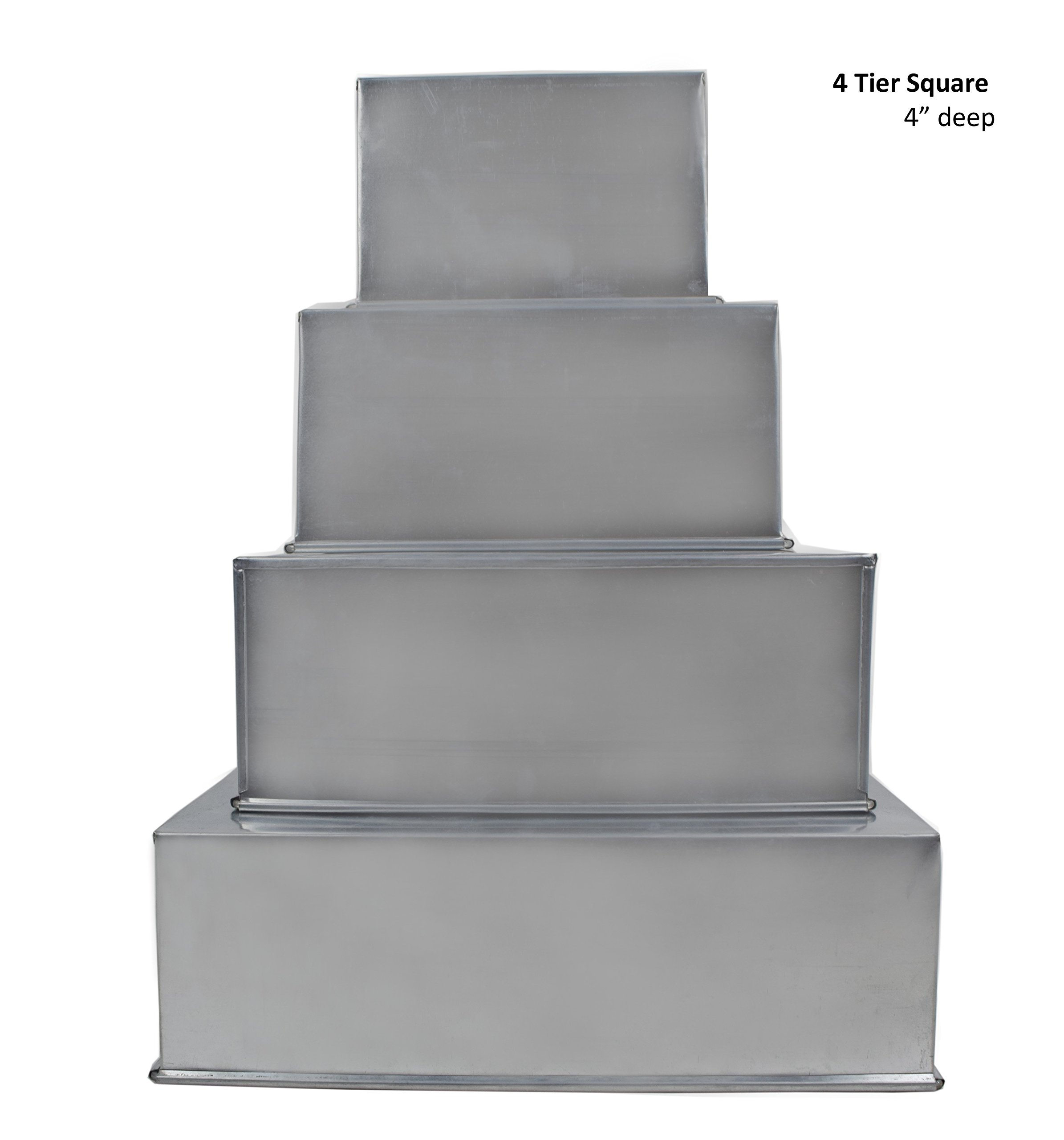 Square Multilayer Wedding Birthday Cake Baking Pan Set of 4 Cake Tins (4'' Deep)