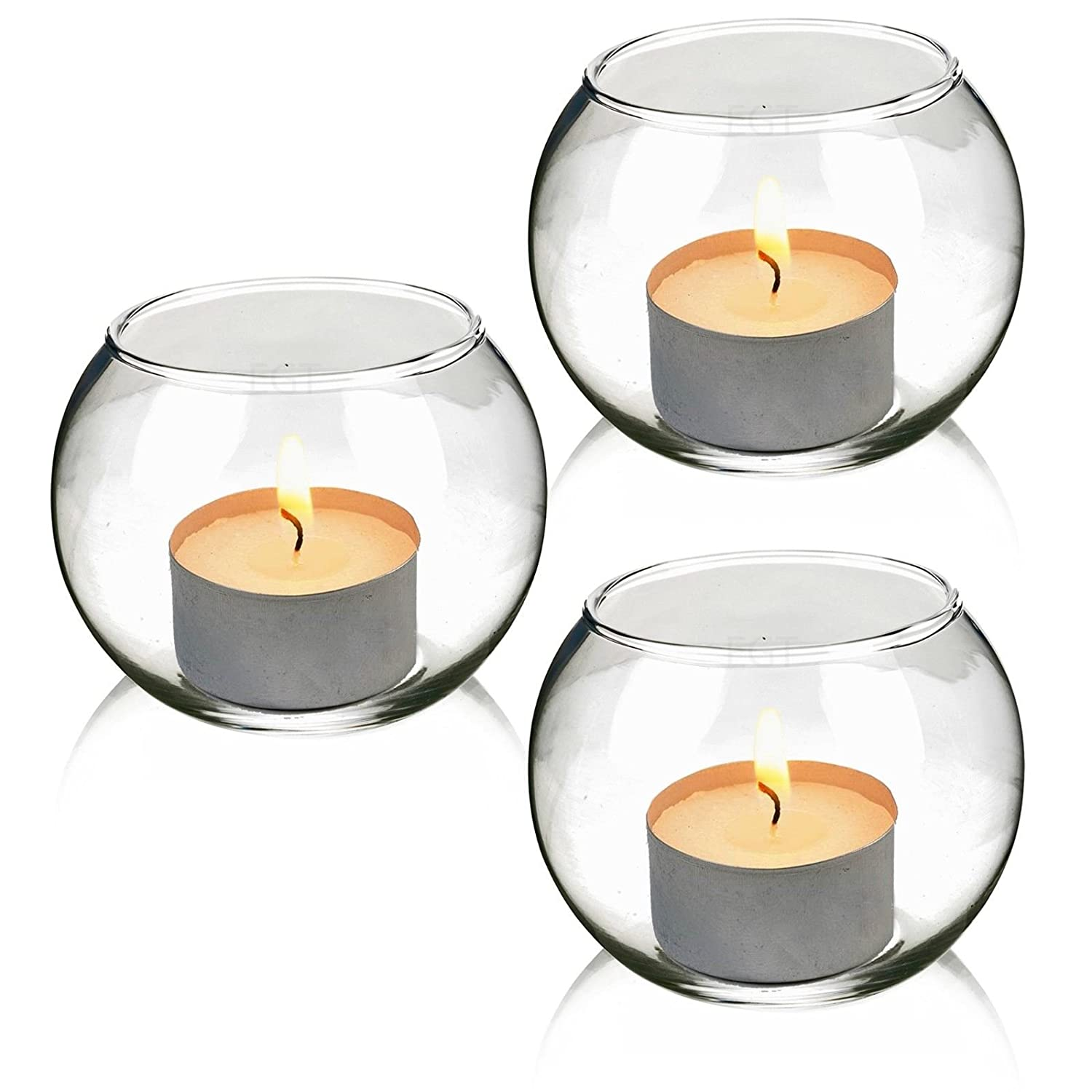 Small Set of 3 Round Glass Candle Holders Verre URBN LIVING /® Lot de 3/ bougeoirs en Verre Ronde
