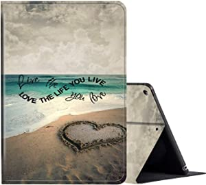 iPad 10.2 Case (2020/2019) 8th/7th Generation ipad Case,Amook Adjustable Non-Slip Folio Stand with Auto Wake/Sleep Smart Cover for New Apple iPad 8/7 Gen 10.2 inch-Beach with Love