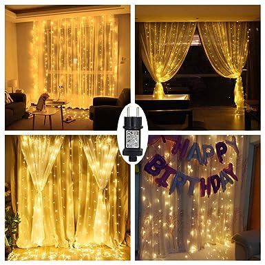 LED Lichtervorhang Warmweiß für Innen Außen Fenster Weihanchten Geburtstag Party Hochzeit IP44 31V Niederspannung 8 Lichtmodi