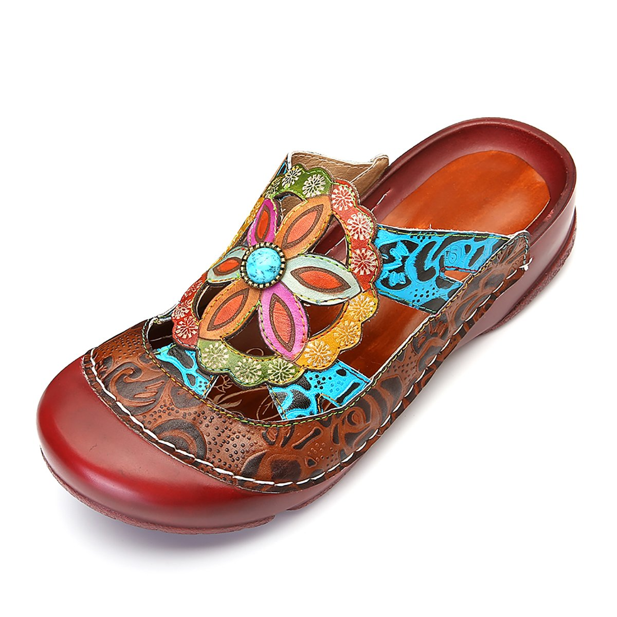 gracosy Women Leather Sandals, Mule Shoes Summer Slip-on Loafers Comfort Outdoor Flat Slipper Clogs Shoes Red Brown 11 B(M) US