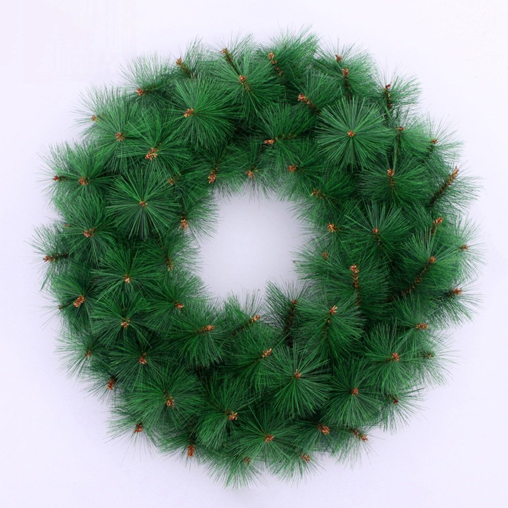 45CM Monochrome Pine Needles Christmas Wreath Shop Window Hotel Decoration Christmas Decorations Green Rattan Garland by LEILEI (Image #1)