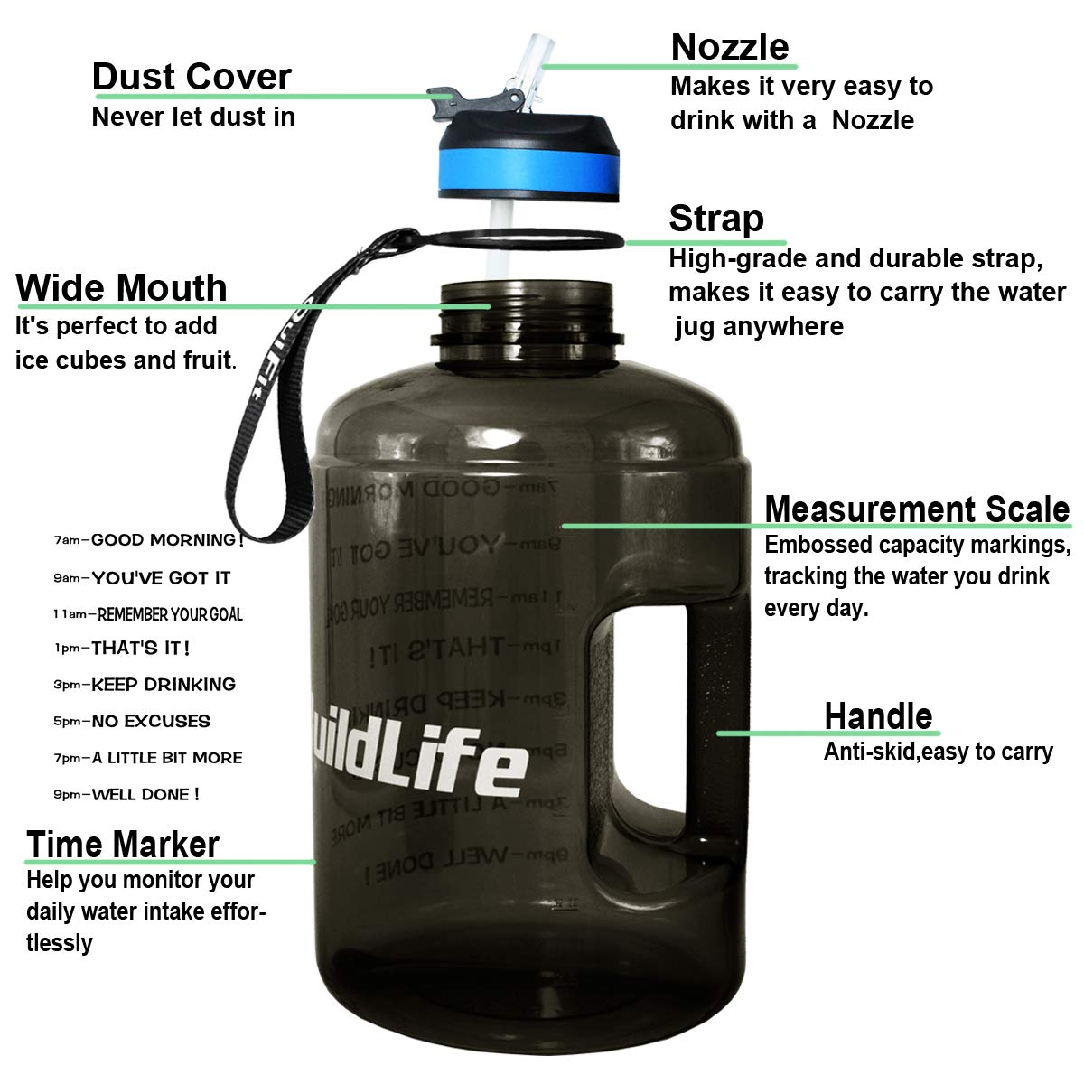 BuildLife Gallon Motivational Water Bottle with Time Marked to Drink More Daily,BPA Free Reusable Gym Sports Outdoor Drinking Large Water Jug 128OZ//73OZ//43OZ