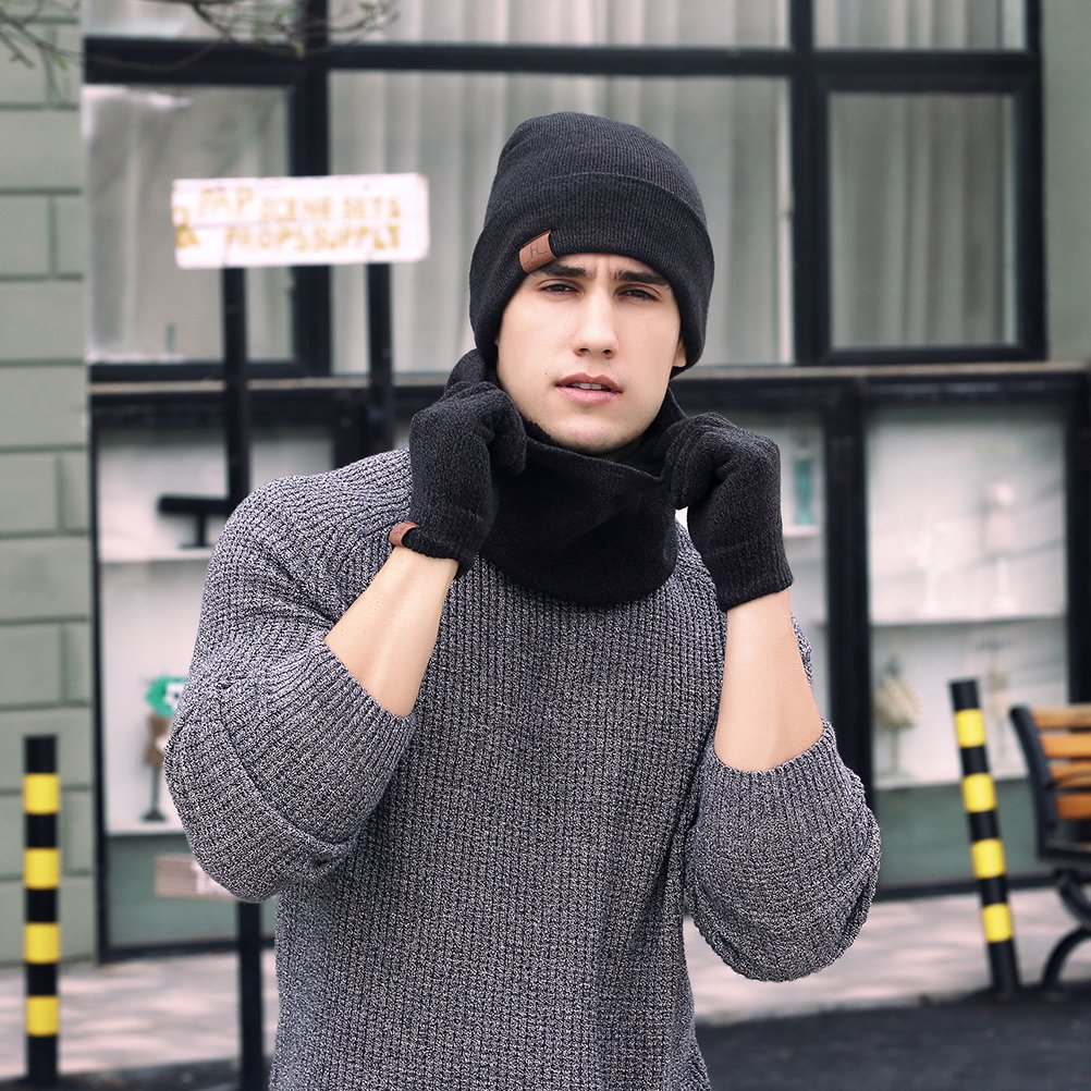 OULII Unisex Hat Scarves Gloves Set Knitted Beanie Hat Scarf Touch Screen Gloves
