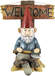Grinchy Greeter Garden Gnome with Go Away Not Welcome Plaque, 16 Inch