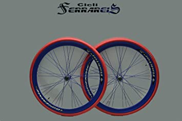 Ruedas para bicicleta de carretera 700 x 28 mm Raktor Gipiemme 8 V, llanta azul: Amazon.es: Deportes y aire libre