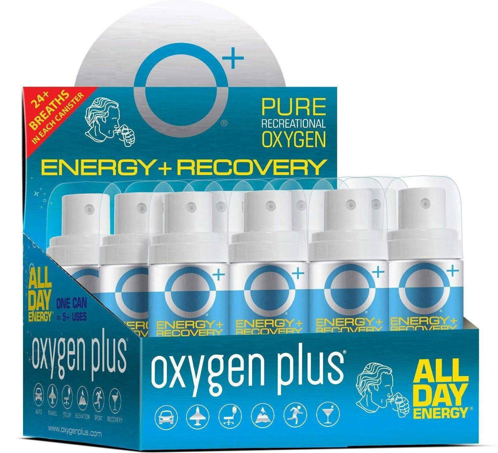 Oxygen Plus Oxygen Cans - O+ Mini Pack, Boost Oxygen Levels with Portable & Concentrated Recreational Oxygen for Altitude Performance & Energy, 1.55 Litre Canisters (12-Pack)