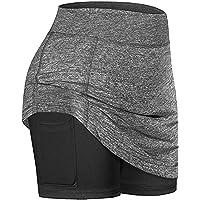 Buhui Tennisrokken voor dames, rekbaar, licht, twee lagen, hoge taille, rok met binnenzak, mini-A-lijn rok voor…