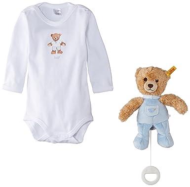 bd2ec52932ec Steiff Unisex Baby 0006480 Gift Set Bodysuit 1 4 Sleeves and Music ...