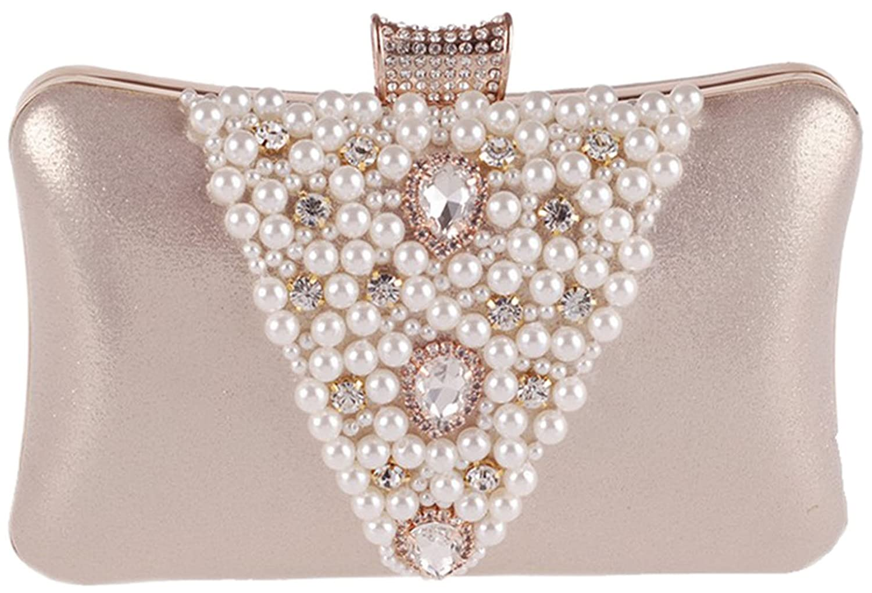 Bettyhome Women Pearl Beads / Rhinestone Brooches Hard Case Clutch Evening Bag